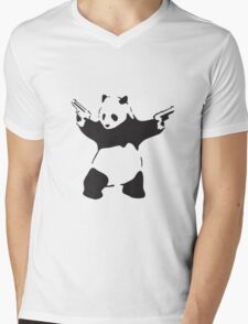 Panda the Gunslinger Mens V-Neck T-Shirt