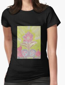 Painted Pastel Plant Womens Fitted T-Shirt