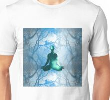 Floating Yogi in the Trees in blue Unisex T-Shirt