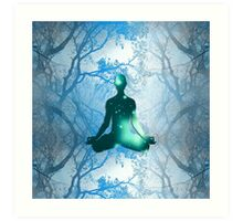 Floating Yogi in the Trees in blue Art Print