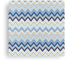 Geometric, Chevron, Tribal, Blue Hue Print Design Canvas Print