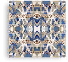 Tribal, Native American, Geometric, Blue Brown Pattern Canvas Print