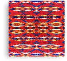 Tribal, Geometric, Bold, Bright Red/Orange Pattern Canvas Print
