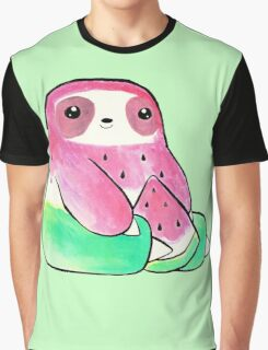 Watermelon Watercolor Sloth Graphic T-Shirt