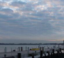 Morning Jetty - A Luminous Daybreak On The Waterfront Sticker