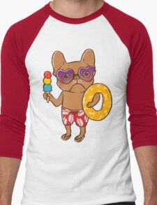 Frenchie at the beach in Summer Men's Baseball ¾ T-Shirt