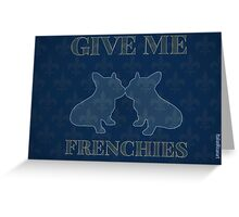 Intriguing Blue Flor De Lis Frenchies Greeting Card