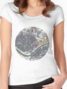 Seville city map engraving Women's Fitted Scoop T-Shirt
