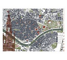 Seville city map engraving Photographic Print