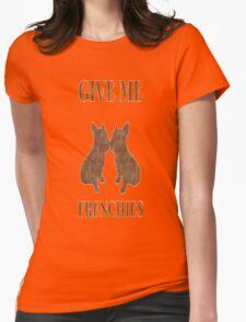 Antiquish Brown Flor De Lis Frenchie Womens Fitted T-Shirt