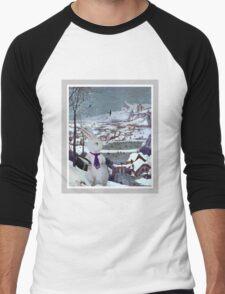 Anthropomorphic Rabbit in the Snow - Composite Image Men's Baseball ¾ T-Shirt