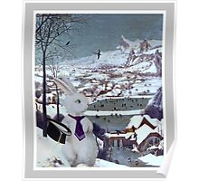 Anthropomorphic Rabbit in the Snow - Composite Image Poster