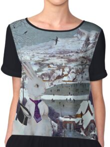 Anthropomorphic Rabbit in the Snow - Composite Image Chiffon Top