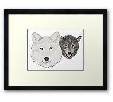 Wolves - Wölfe - white and black - weiß und schwarz Framed Print