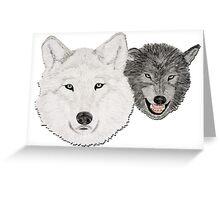 Wolves - Wölfe - white and black - weiß und schwarz Greeting Card