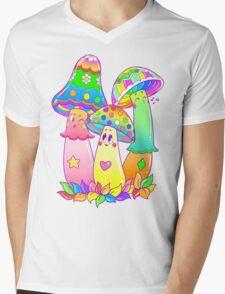 Colorful Mushroom Friends Mens V-Neck T-Shirt