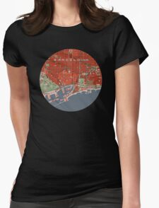 Barcelona city map classic Womens Fitted T-Shirt