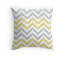 Trendy Yellow And Gray Chevron   Throw Pillow
