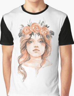 Portrait of a young girl in floral wreath Graphic T-Shirt