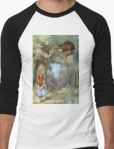 Vintage famous art - Alice In Wonderland - The Cheshire Cat Men's Baseball ¾ T-Shirt