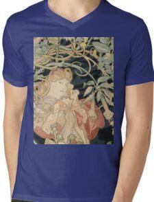 Alphonse Mucha - Woman In La Marguerite 1899  Garden,woman, love, dress,  birthday, fashion, spring, summer, peonies, pink,  beauty Mens V-Neck T-Shirt