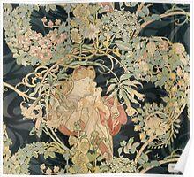 Alphonse Mucha - Woman In La Marguerite 1899  Garden,woman, love, dress,  birthday, fashion, spring, summer, peonies, pink,  beauty Poster