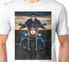 Skeggy Cruiser on Ebony front view no helmet Unisex T-Shirt