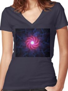 Magenta Flower Galaxy Women's Fitted V-Neck T-Shirt