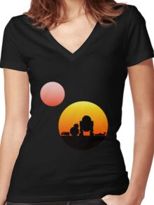 When Two Worlds Collide Women's Fitted V-Neck T-Shirt