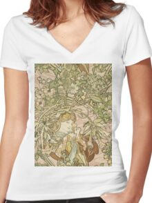 Alphonse Mucha - Lady With Daisy 1898 Women's Fitted V-Neck T-Shirt
