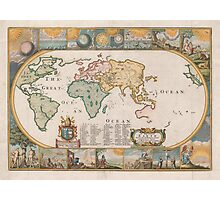 Map of the Earth by Joseph Moxon (1681) Photographic Print