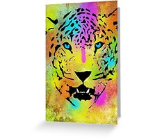 POP Tiger - Colorful Paint Splatters and Drips - Stained Canvas Art  Greeting Card