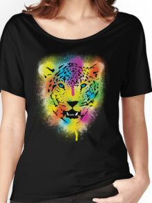 POP Tiger - Colorful Paint Splatters and Drips - Stained Canvas Art  Women's Relaxed Fit T-Shirt