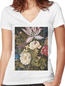 Vintage famous art - Ambrosius Bosschaerts The Elder - Still-Life With Flowers Women's Fitted V-Neck T-Shirt