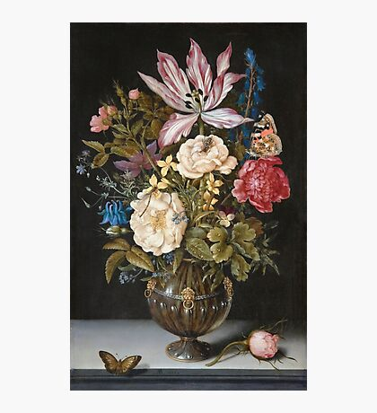 Vintage famous art - Ambrosius Bosschaerts The Elder - Still-Life With Flowers Photographic Print