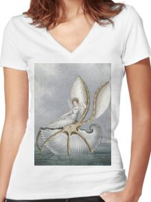 Vintage famous art - Amelia Jane Murray  - A Fairy Resting On A Shell Women's Fitted V-Neck T-Shirt