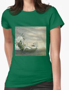 Vintage famous art - Amelia Jane Murray  - Fairies Floating Downstream In A Peapod Womens Fitted T-Shirt