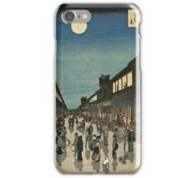 Vintage famous art - Ando Hiroshige  - 100 Famous Views Of Edo Night View Saruwaka Street iPhone Case/Skin