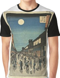 Vintage famous art - Ando Hiroshige  - 100 Famous Views Of Edo Night View Saruwaka Street Graphic T-Shirt