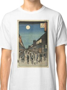 Vintage famous art - Ando Hiroshige  - 100 Famous Views Of Edo Night View Saruwaka Street Classic T-Shirt