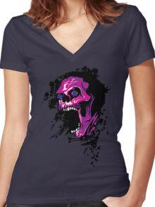 Wicked Skull With Paint Splatters Women's Fitted V-Neck T-Shirt