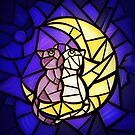 Moon Kitties Stained Glass by Ellador