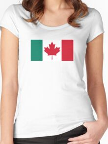 Canada / Italy Flag Mashup  Women's Fitted Scoop T-Shirt