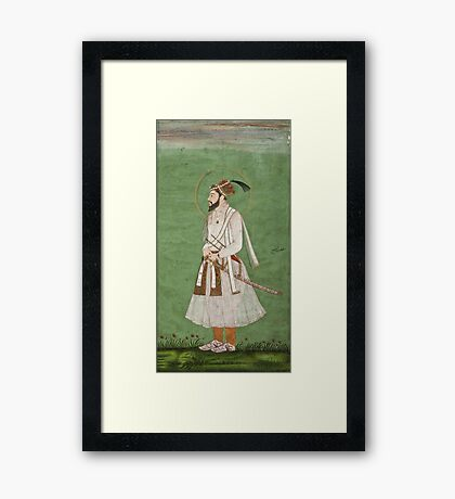 Vintage famous art - Anonymous - Portrait Of A Mughal Prince Possibly A Copy Of A Portrait Of Sultan Shuja (1616-1659) Framed Print