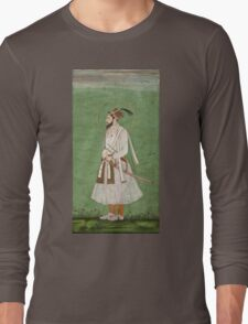 Vintage famous art - Anonymous - Portrait Of A Mughal Prince Possibly A Copy Of A Portrait Of Sultan Shuja (1616-1659) Long Sleeve T-Shirt