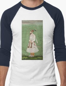 Vintage famous art - Anonymous - Portrait Of A Mughal Prince Possibly A Copy Of A Portrait Of Sultan Shuja (1616-1659) Men's Baseball ¾ T-Shirt