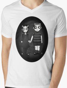 Dark little Wednesday and Pugsley Addams Mens V-Neck T-Shirt