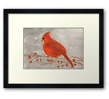 Cardinal Redbird With Red Berries Watercolor Framed Print