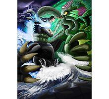 Godzilla Vs. Cthulhu Photographic Print