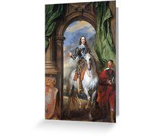 Vintage famous art - Anthony Van Dyck - Charles I With Monsieur De St Antoine Greeting Card